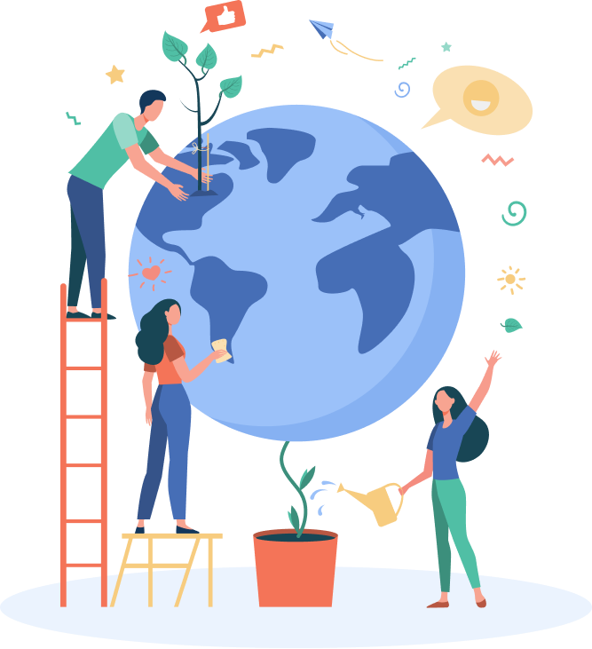 People surrounding a globe and planting trees.