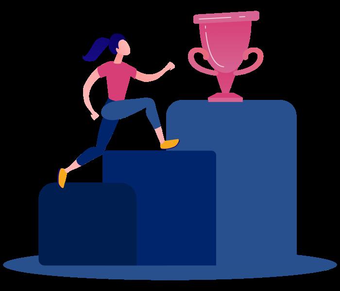 A person climbing towards a trophy